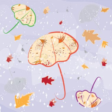 Colorful umbrellas on violet watercolour autumnal background