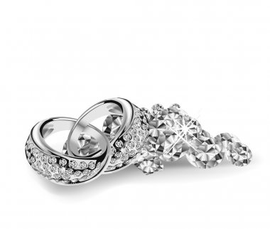 Silver vector wedding rings on diamonds