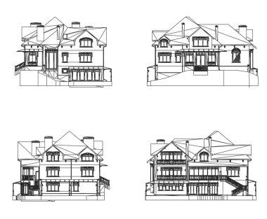 Set House facade. Vector illustration