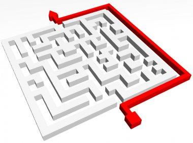 Path across labyrinth. Vector illustration
