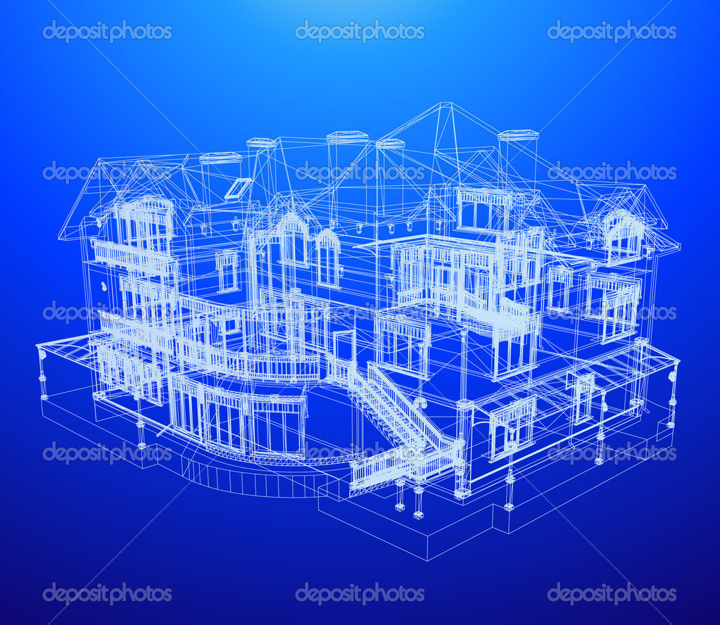 Architecture blueprint of a house stock vector emaria for Architecture design blueprint