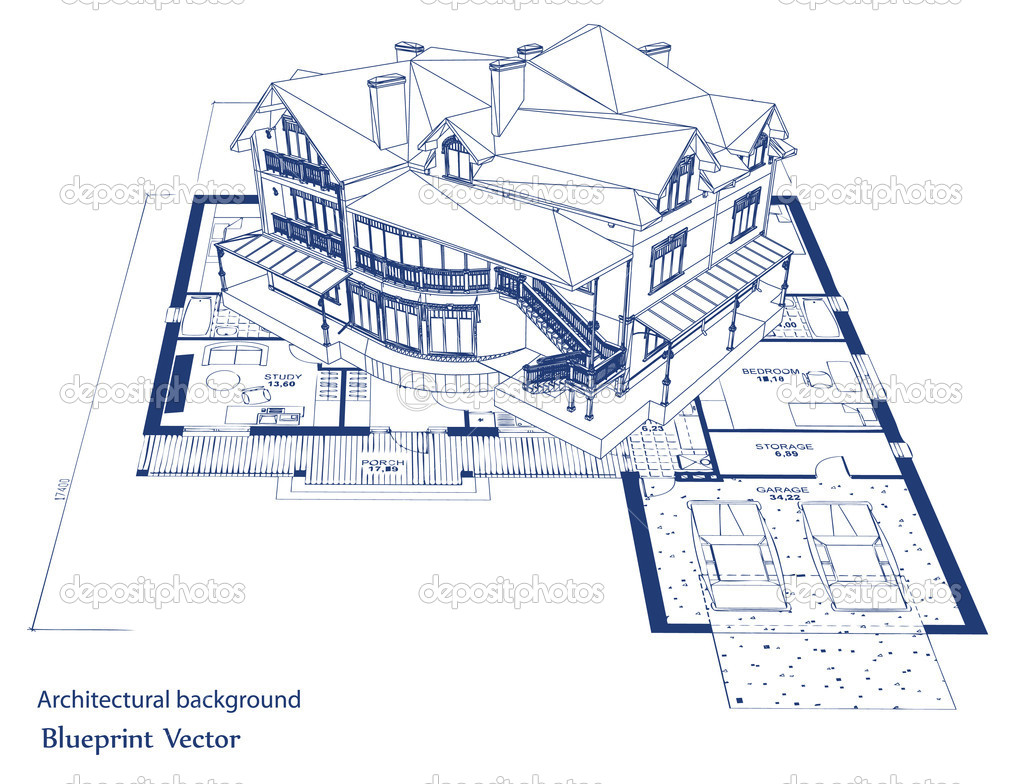 Architecture blueprint of a house vector stock vector for How to make a blueprint of a house
