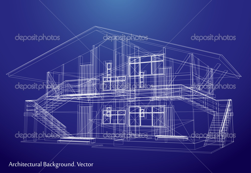 Architecture blueprint of a house vector stock vector for Architecture design blueprint