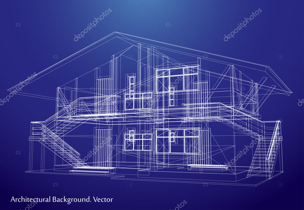 Architecture blueprint of a house vector stock vector emaria architecture blueprint of a house over a blue background vector by emaria malvernweather Image collections