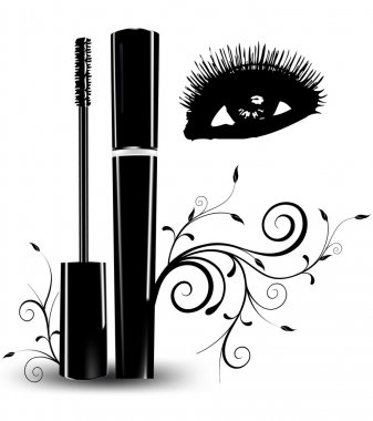Ink for eyelashes with ornament and eyes. Vector