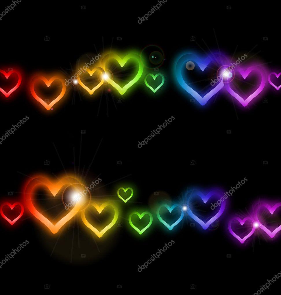 marco de corazón del arco iris con destellos. Vector — Vector de ...
