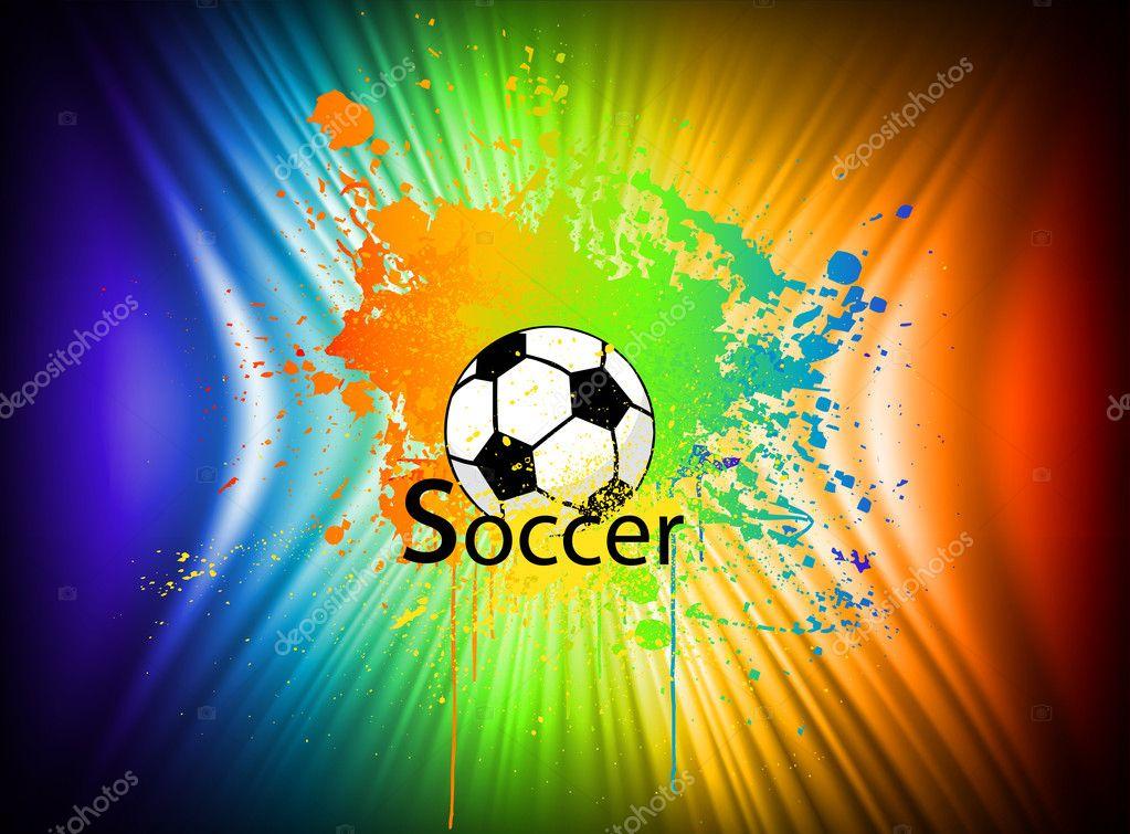 Regenbogen Freihandhintergrunds Mit Fussball Vektor