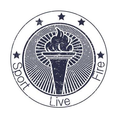 Grunge stamp fire torch. Vector