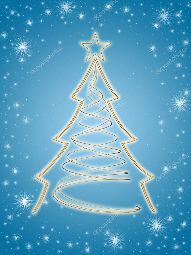 rbol de Navidad 3d oro en azul Foto de stock marinini 4497275