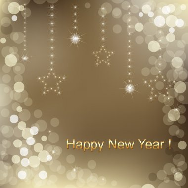 Happy New Year Background With Stars And Text, Vector Illustration stock vector