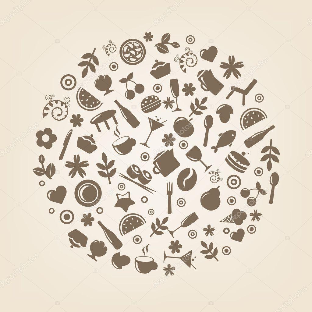 Restaurant Icons In Form Of Sphere Stock Vector C Adamson