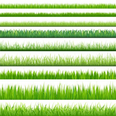 9 Backgrounds Of Green Grass, Isolated On White Background, Vector Illustration stock vector