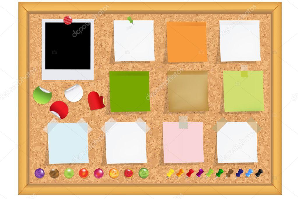 cork bulletin board u2014 stock vector