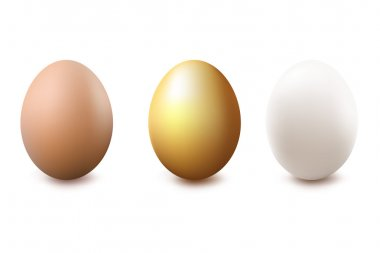 Brown, Golden And White Eggs