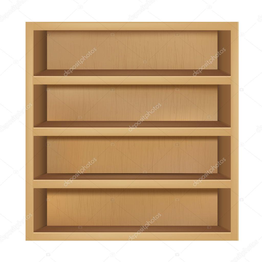 Empty Wooden Bookshelf — Stock Vector © adamson #5319059