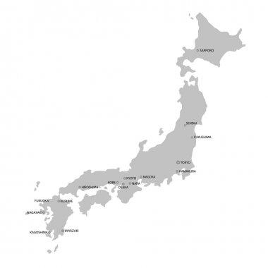 Japan Map, Isolated On White Background, Vector Illustration clip art vector