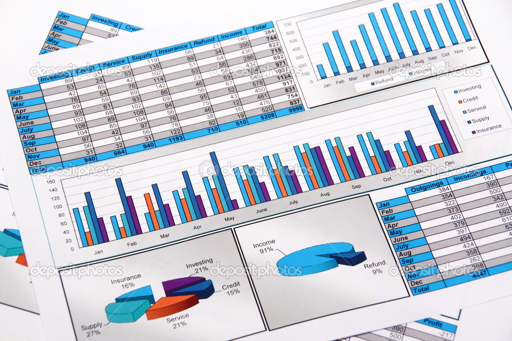 Annual Report. Graphs, Diagram, Charts, Analysis, Data. Selective Focus stock vector