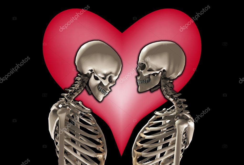 0f15392295 Egy pár csontvázat egy szerelem szív mögött — Fotó szerzőtől ...