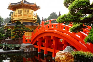 Oriental golden pavilion of Chi Lin Nunnery and Chinese garden,