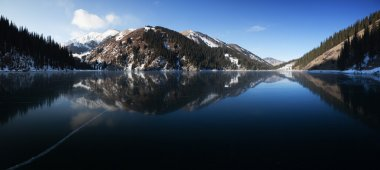 Frozen mountain lake pano