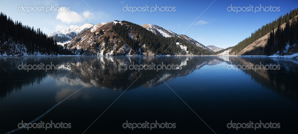 Frozen mountain lake pano