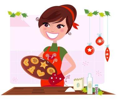 Secret recipe: Woman preparing christmas cookies