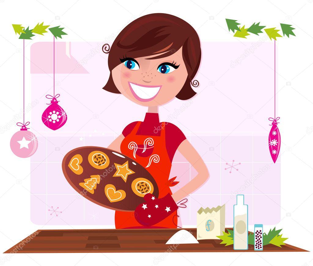 madre cucina preparando i biscotti di Natale in cucina — Vettoriali ...