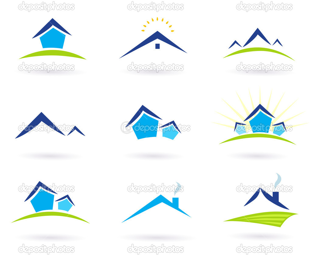 Real estate / houses logo icons isolated on white - blue and green