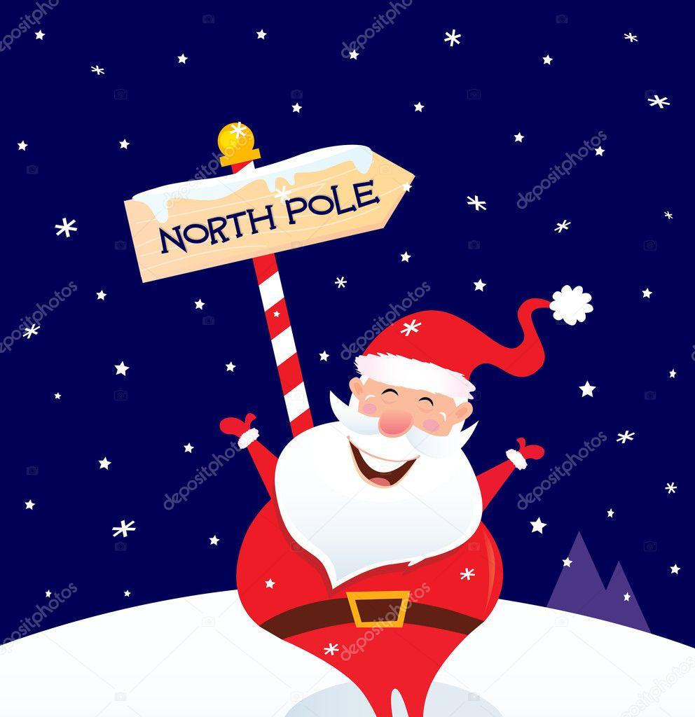 joyeux no l p re no l avec p le nord signer image vectorielle beeandglow 4384908. Black Bedroom Furniture Sets. Home Design Ideas