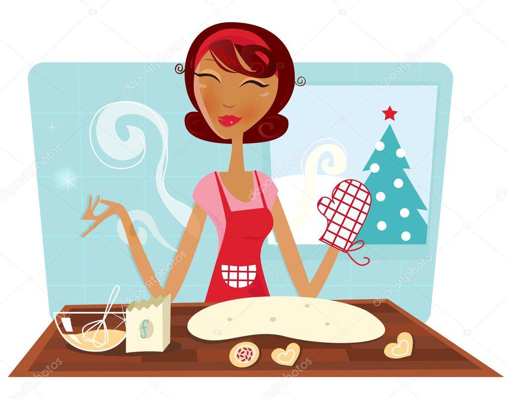 donna Natale cuocere i biscotti in cucina retrò — Vettoriali Stock ...
