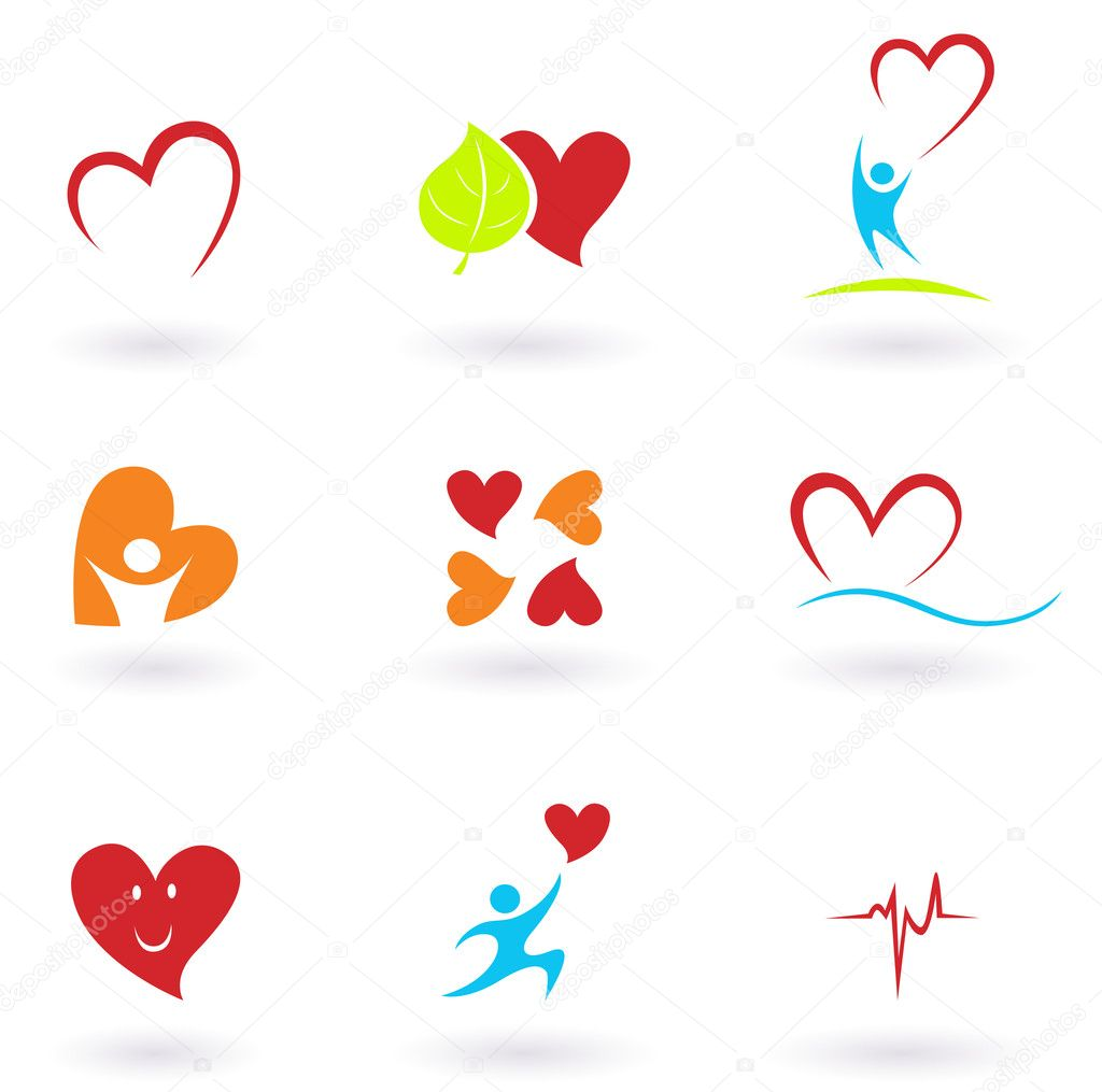 Cardiology, heart and icons collection
