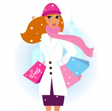 Winter shopping: Beautiful brown hair woman with pink shopping bags in city
