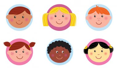 Cute diversity kids icons or buttons - pink and blue