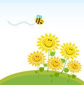 roztomilá žlutá včela se skupinou květin