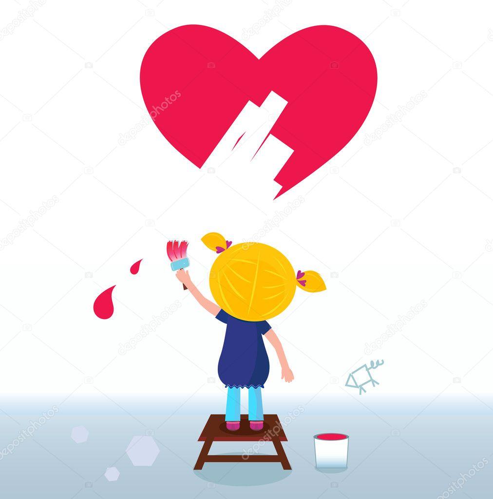 Küçük Sanatçı şirin Kız Kırmızı Kalp Duvar Boyama Stok Vektör