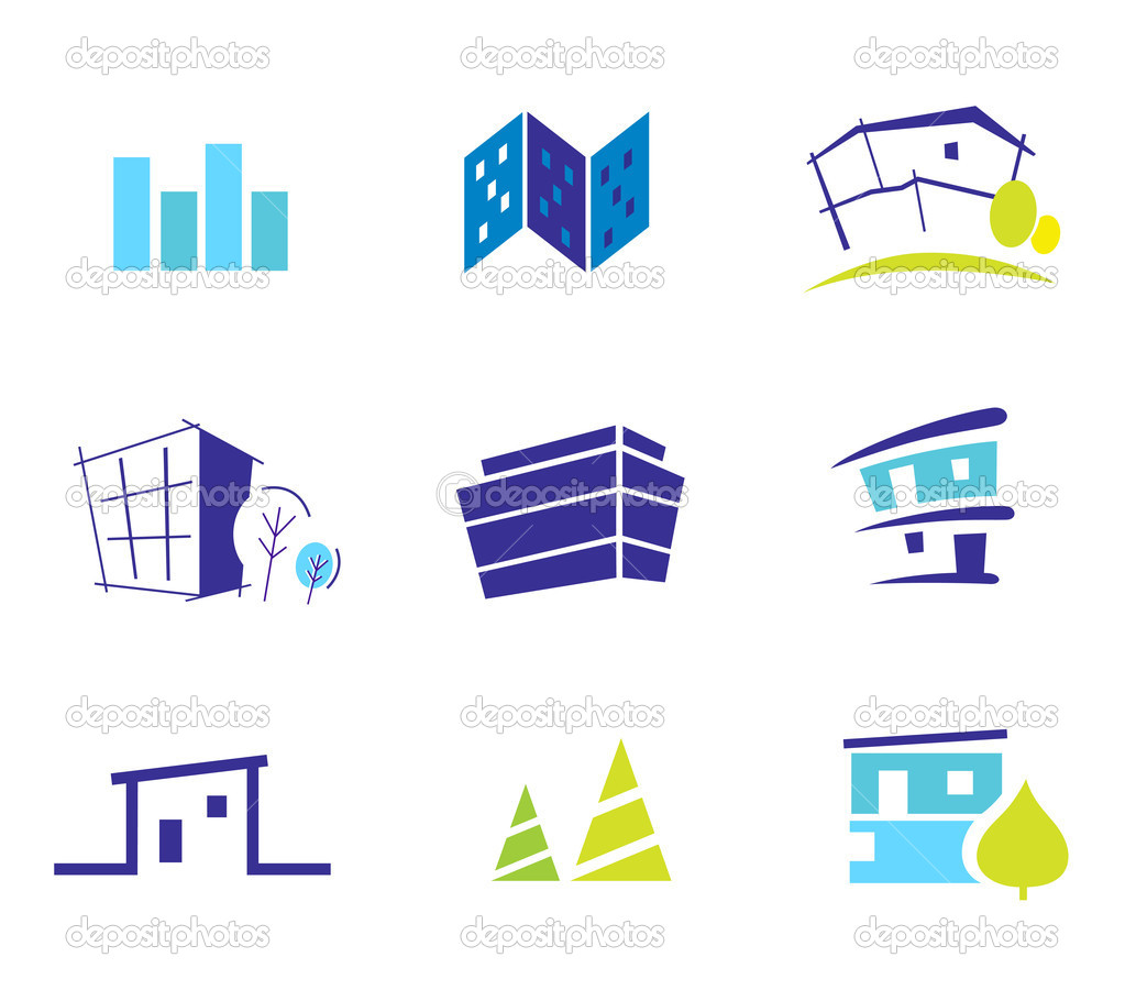 Real estate, architecture and nature icons and symbols - blue an