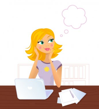 Happy smiling blond Woman sitting behind Laptop and daydreaming