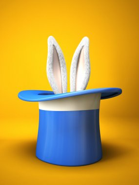 Blue top hat with rabbit ears isolated on yellow background
