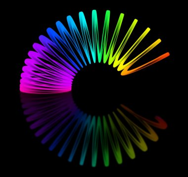 Multicolored slinky isolated on black background