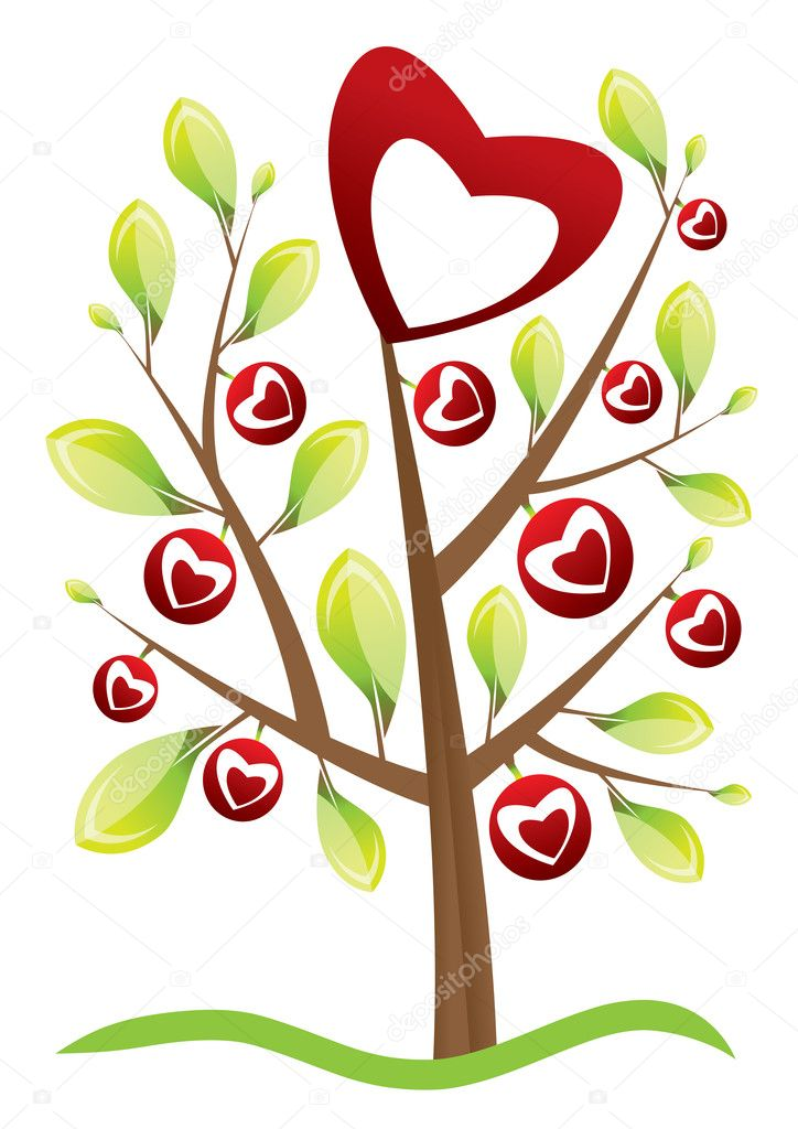 Valentine's day tree with leafs
