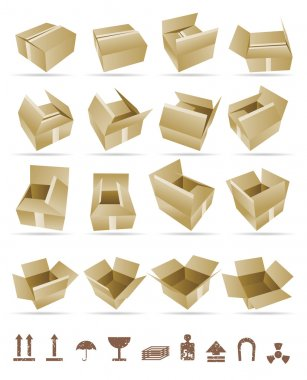 Vector Illustration of shipping box vector and Box Icon and Signs