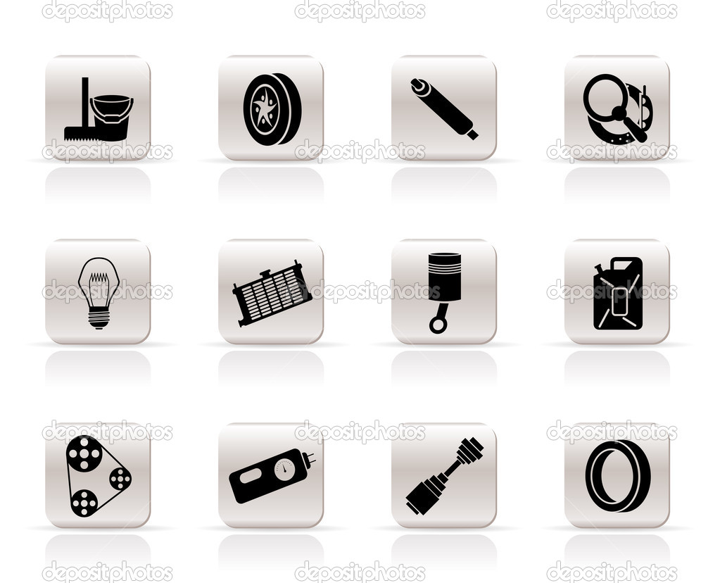 Simple Car Parts and Services icons — Stock Vector © stoyanh #5011032