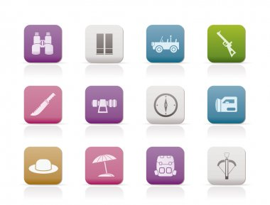 Safari, hunting and holiday icons
