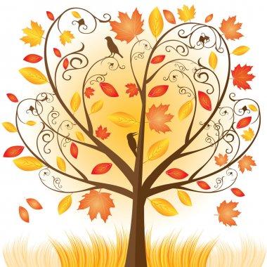 Beautiful autumn tree with fall Leafs