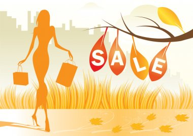 Autumn background with shopping woman with shopping bags