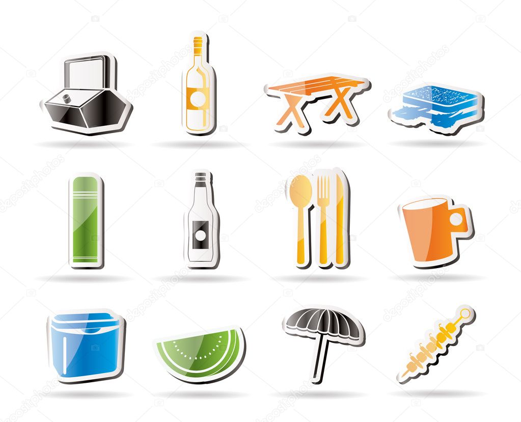 Simple Picnic and holiday icons