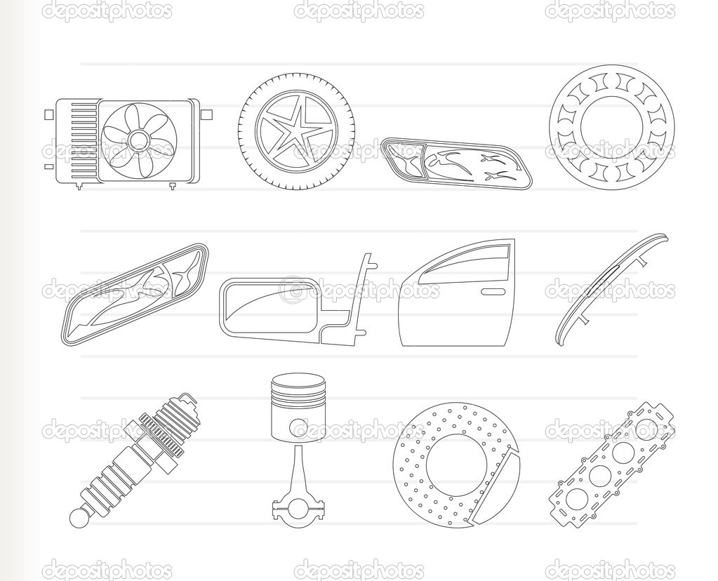 Realistic Car Parts and Services icons — Stock Vector © stoyanh #5080702
