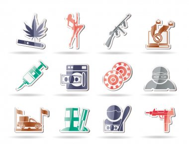 Mafia and organized criminality activity icons