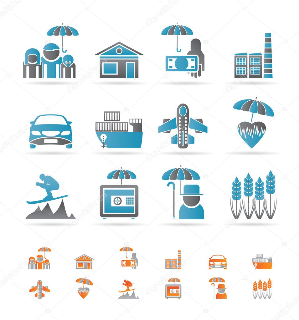 Different kind of insurance and risk icons