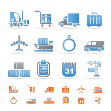 Logistics, shipping and transportation icons
